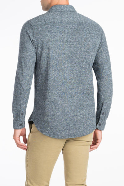Heather Dual Knit Belmar Shirt  - Charcoal Grey