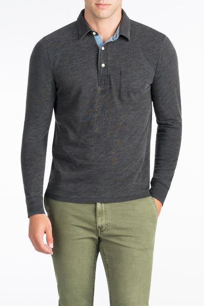 Long-Sleeve Indigo Polo  - Black Wash Indigo