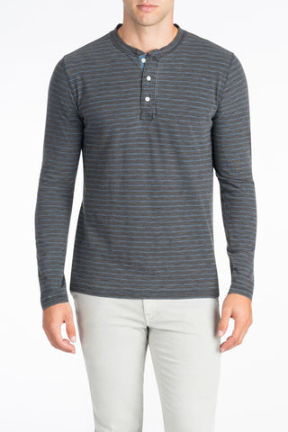 Long-Sleeve Indigo Henley  - Black Indigo Wash Blue Stripe