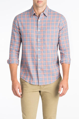 Ultra Fine Newport Check Shirt - Dusty Red Check