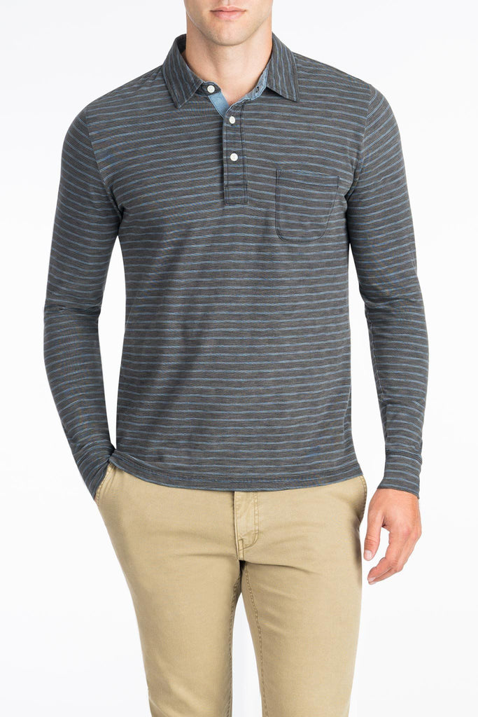 Long-Sleeve Indigo Polo  - Black Wash Indigo Blue Stripe
