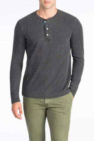 Long-Sleeve Indigo Henley  - Black Indigo Wash