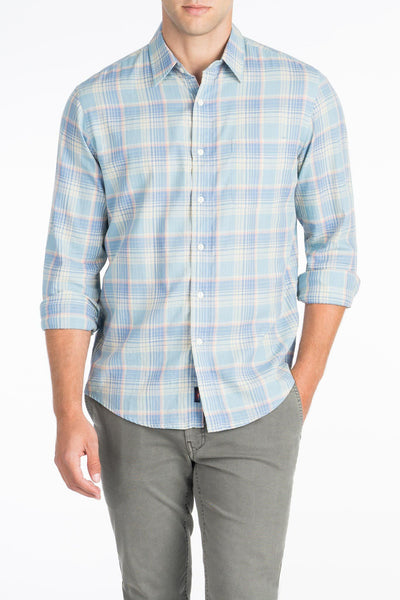Signature Washed Twill Shirt  - Arctic Blue Plaid