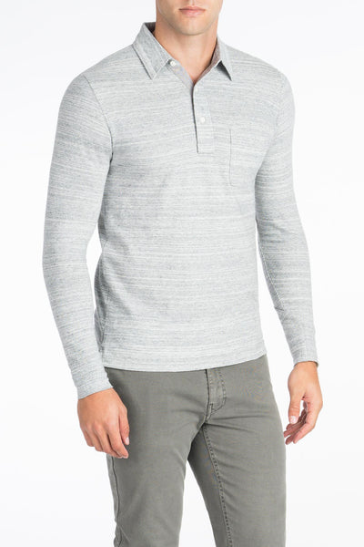Long-Sleeve Heather Polo - Athletic Grey