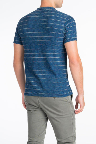 Stitch Stripe Henley  - Medium Wash Indigo
