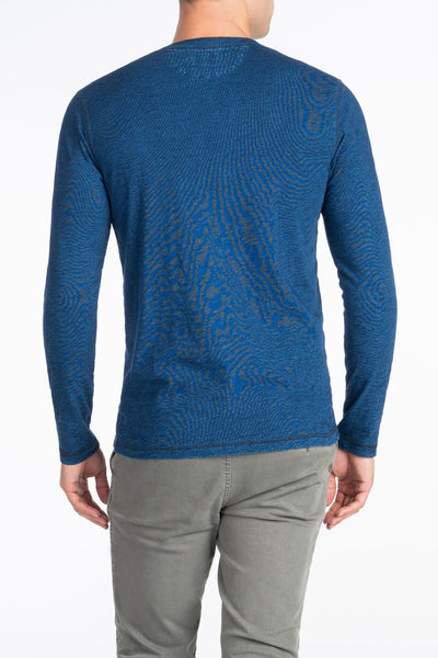 Long-Sleeve Indigo Henley - Dark Wash Indigo
