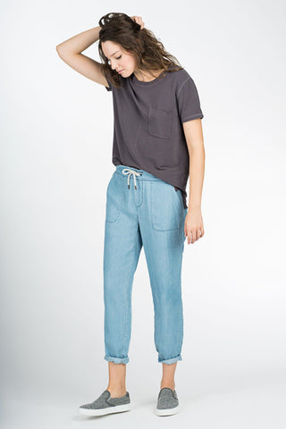 Lomi Soft Pant - Light Wash Indigo