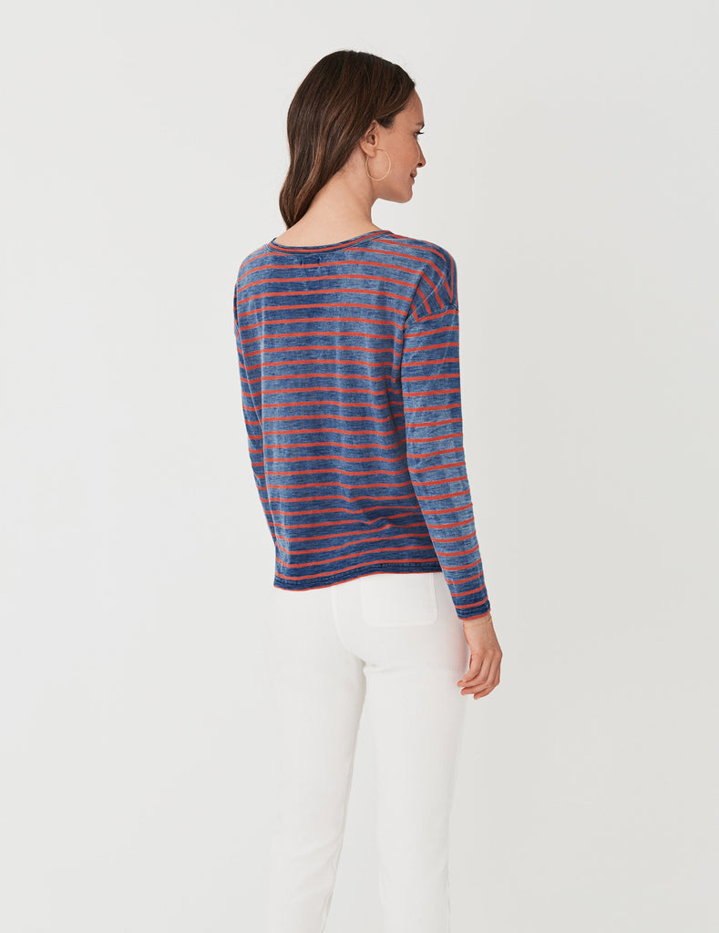 Sinclair Long-Sleeve Tee - Washed Indigo Red