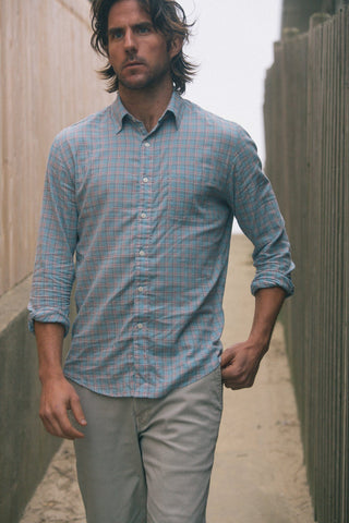 Ultra Fine Newport Check Shirt - Light Blue Check