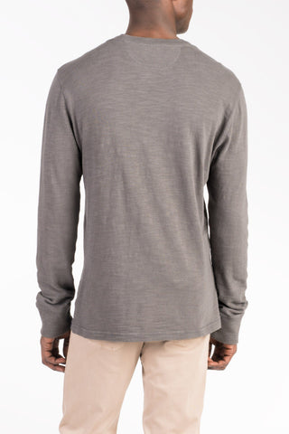 Slub Cotton Henley - Charcoal