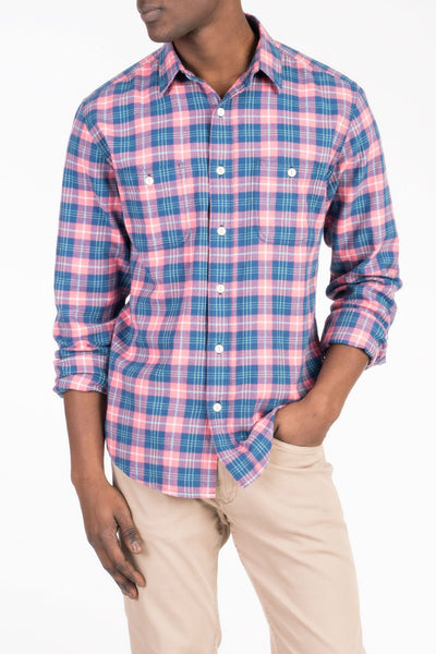 Brushed Beach Flannel - Indigo & Rose Plaid