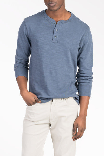 Slub Cotton Henley - Navy