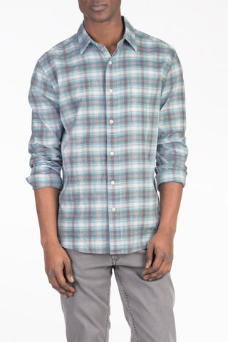 Signature Washed Twill Shirt - Dusty Blue & Grey Plaid