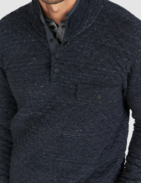 Quilted Snap Pullover - Black Heather