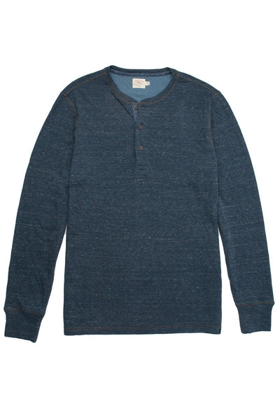 Heather Dual Knit Henley - Navy