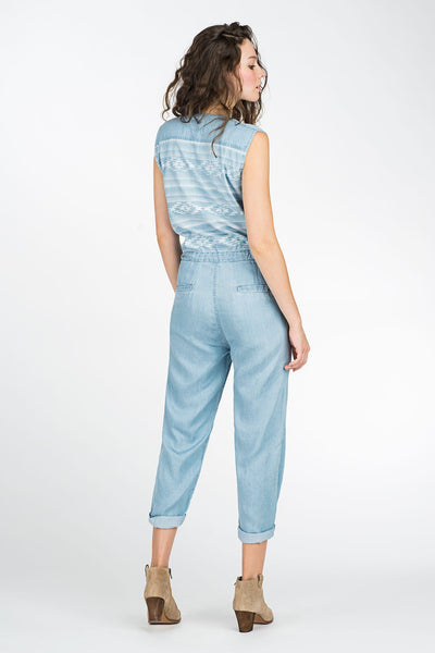 Printed Back Surf Bettie Jumpsuit - Light Wash Indigo Aztec