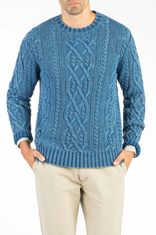 Indigo Cable Crewneck  - Medium Wash Indigo