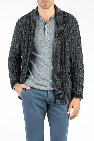 Indigo Cable Cardigan  - Black Indigo Wash