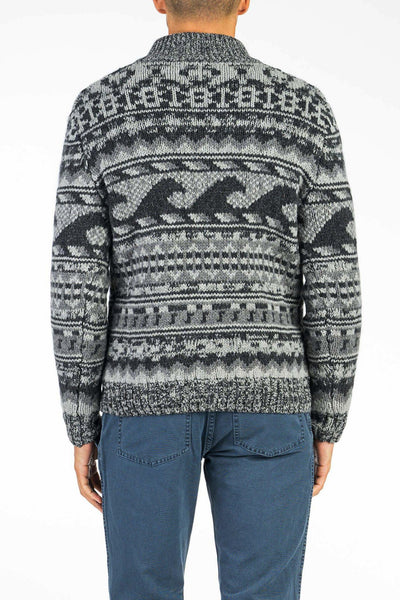 Cowichan Button Pullover - Grey Wave Print