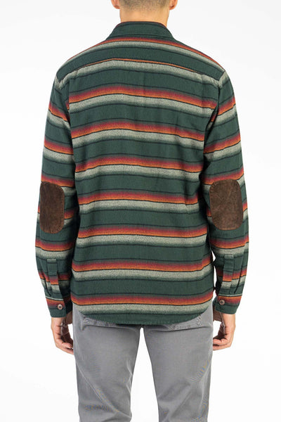 Cotton Elbow Patch Workshirt - Hunter Green Serape