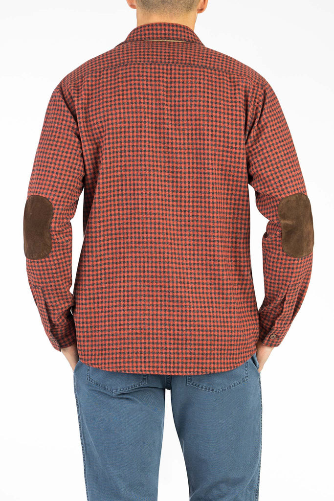 Wool Elbow Patch Workshirt - Red Check