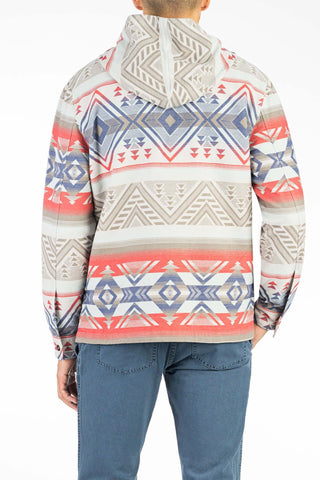 Pacific Poncho - Grey Aztec