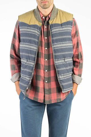 Stag x Faherty Big Bend Down Vest - Ghurka/Navy Canteen Stripe