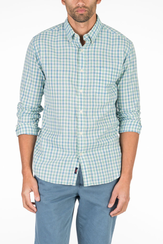 Ultra Fine Newport Check Shirt - Blue & Green Gingham