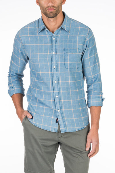 Signature Washed Twill Shirt - Faded Indigo Windowpane