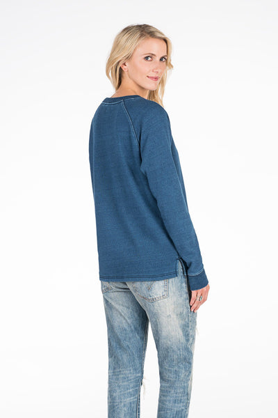 Fleece-Lined Hinkley Crew - Indigo Fleece