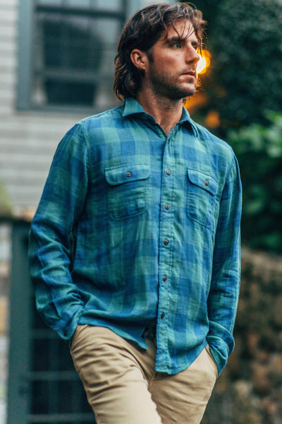 Doublecloth Shirt - Green Buffalo Check & Chambray