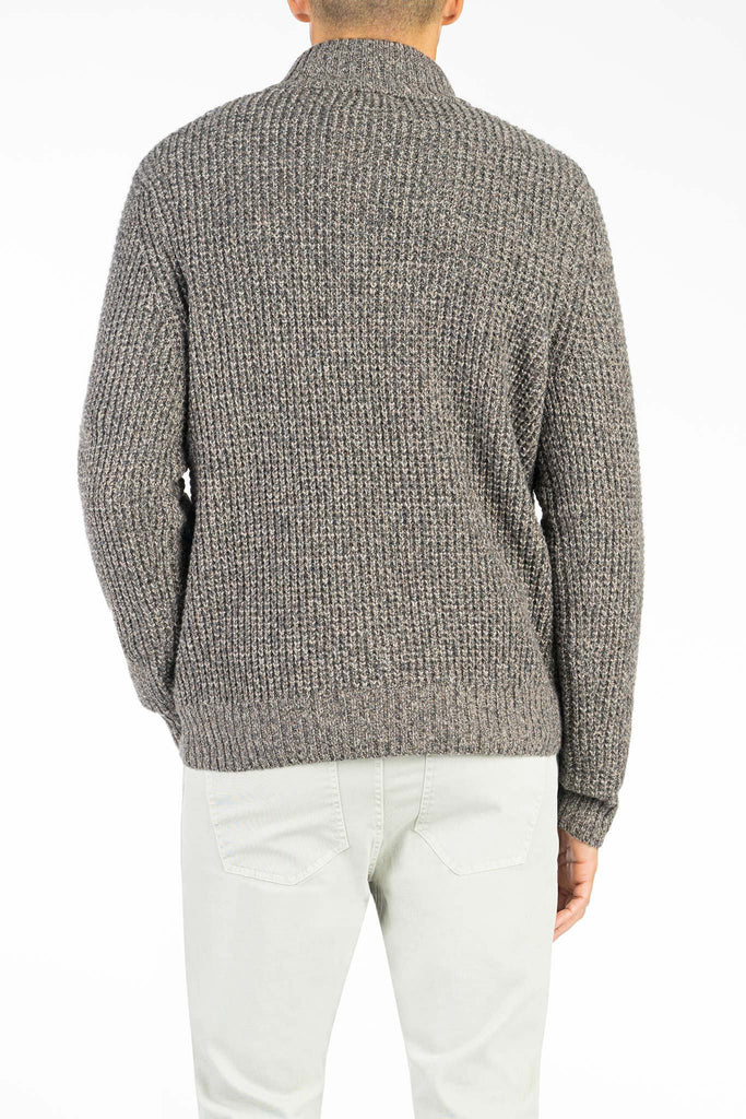 Cashmere Button Pullover - Heathered Walnut