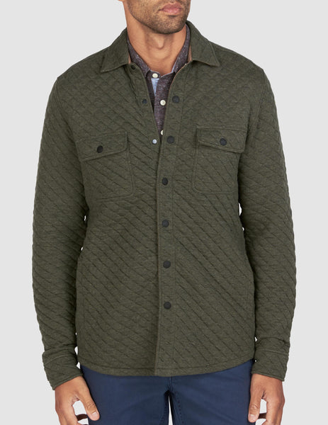 Quilted Belmar Snap CPO - Olive Heather