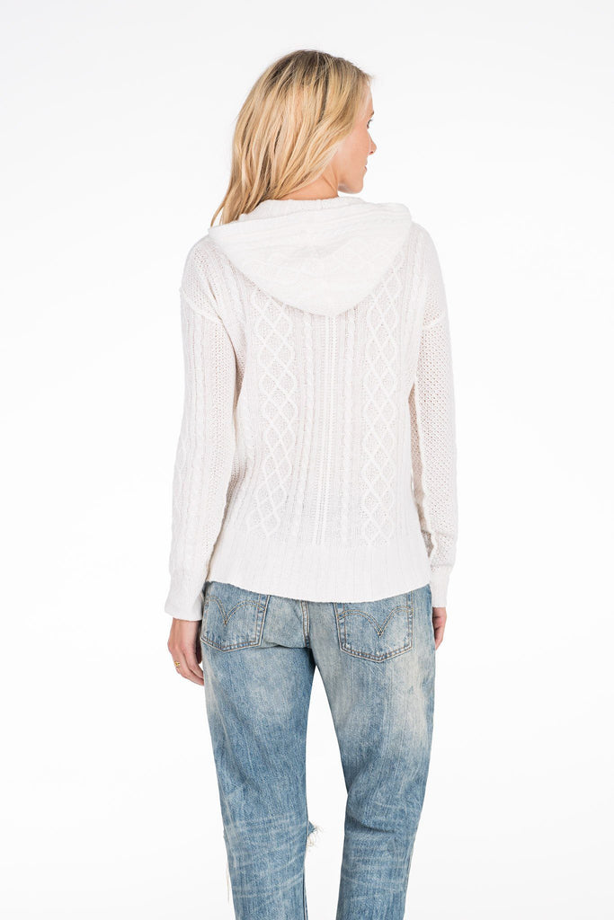 Cashmere Cable Hoodie - Soft White