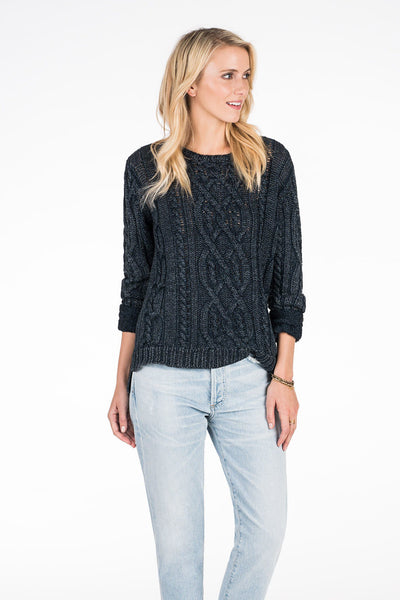Bandit Cable Sweater- Dark Wash Indigo