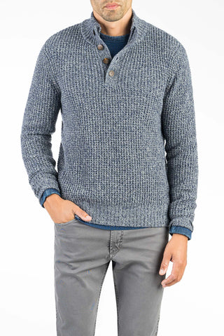 Cashmere Button Pullover - Heathered Blue
