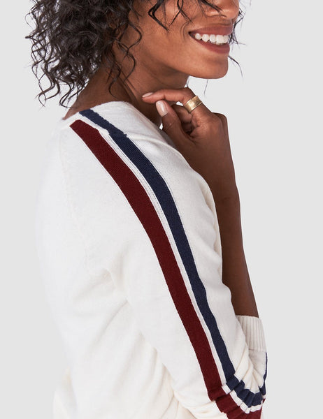 Sconset V Neck Sweater - Ivory Ski Stripe