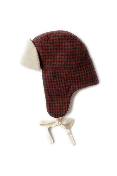 Cream Sherpa Lined Trapper Hat - Red Check