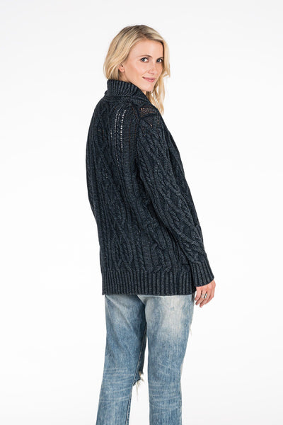 Acadia Fisherman's Cable Cardigan - Dark Wash Indigo