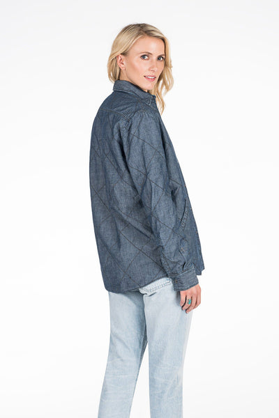 Bondi Reversible Jacket - Chambray/Indigo Arrow Stripe