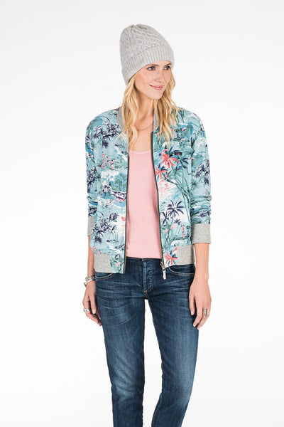 Aloha Reversible Bomber - Palm Bay Print/Heather Grey