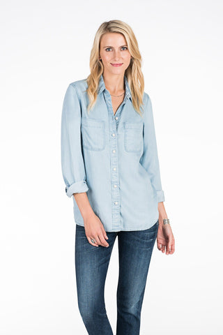 Printed Back Malibu Tide Shirt - Light Wash Indigo Aztec