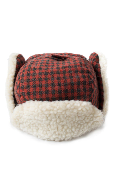 Kid's Cream Sherpa Lined Trapper Hat - Red Check