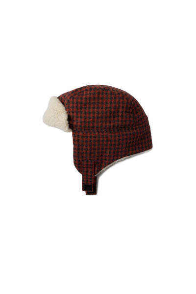 Kids Cream Sherpa Lined Trapper Hat - Red Check