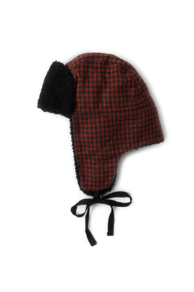 Black Sherpa Lined Trapper Hat - Red Check