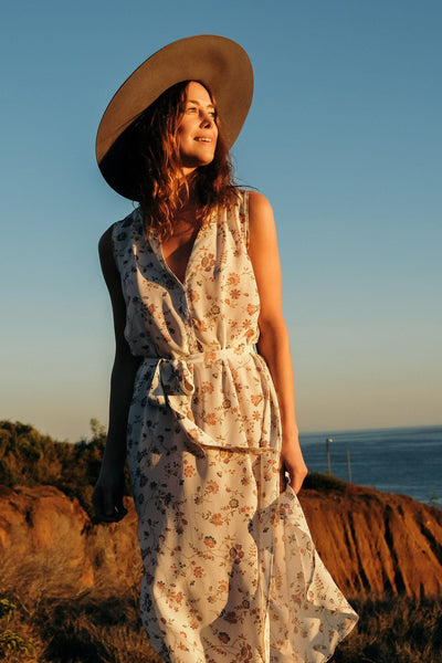 Samoa Silk Dress - Cream Traveling Floral