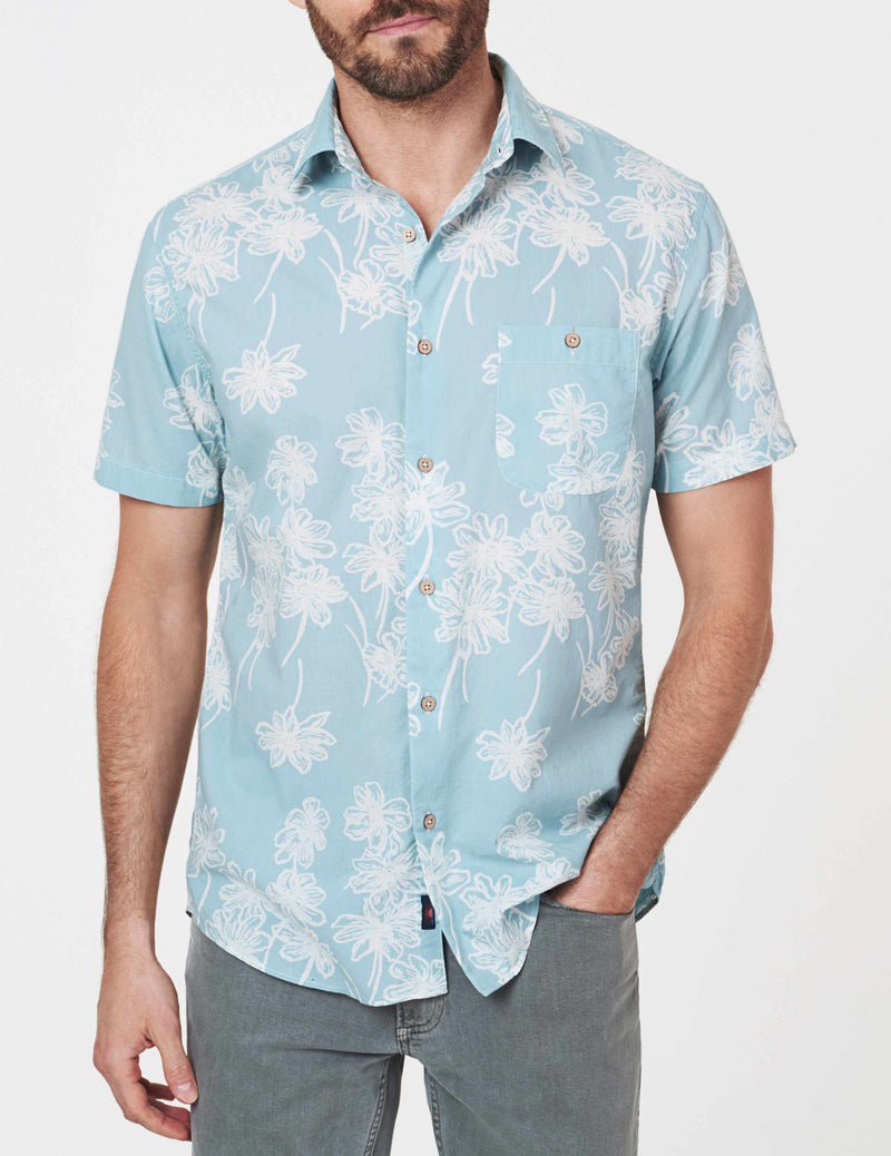 Short-Sleeve Coast Shirt - Dusty Turquoise Floral