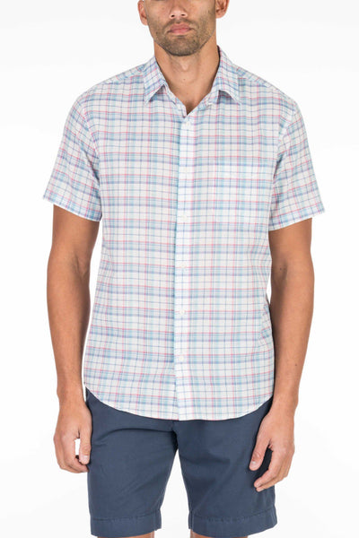 Short-Sleeve Summer Blend Shirt - White Plaid