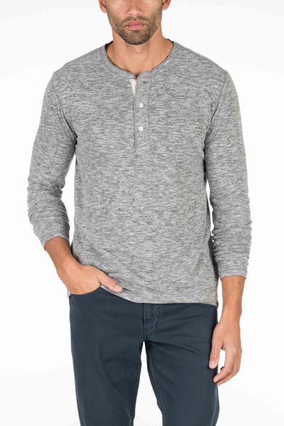 Spring Heather Long-Sleeve Henley - Charcoal