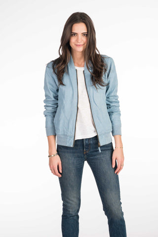 Alana Reversible Bomber - Light Wash Indigo/Colorado Jewel